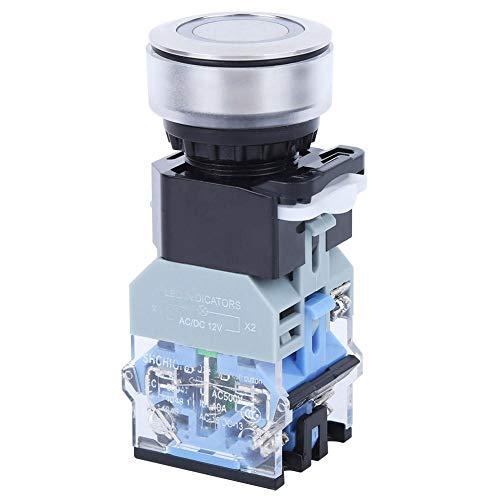 Interruptor de botón de 30 mm, interruptor de carcasa de plástico con tapa redonda AC/DC12V con luz azul, controles eléctricos industriales(Reset)