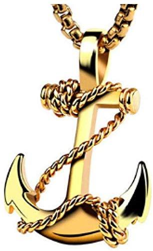 NC83 Cuerda de acero inoxidable Ancla Colgante Collar Cadena Joyas Encanto gótico Estilo azul marino
