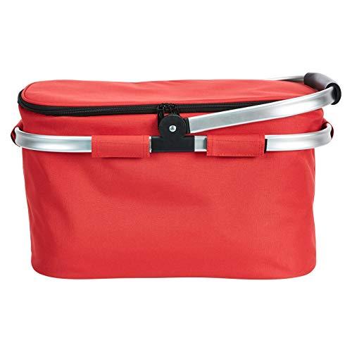AmazonBasics Grande 26 litros Bolsa de la compra isotérmica y plegable con asas de aluminio, color rojo