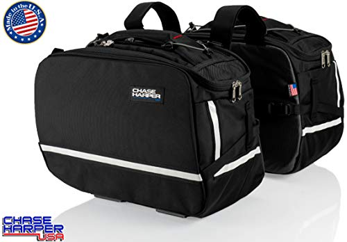 "Chase Harper USA 3550 Aeropac II Saddle Bags - Water-Resistant, Industrial Grade Ballistic Nylon w/Thermoplastic Insert, Anti-Scratch Vinyl on Inward Facing Wall, 14"" L x 9"" W x 10.5"" H (Per Side)"