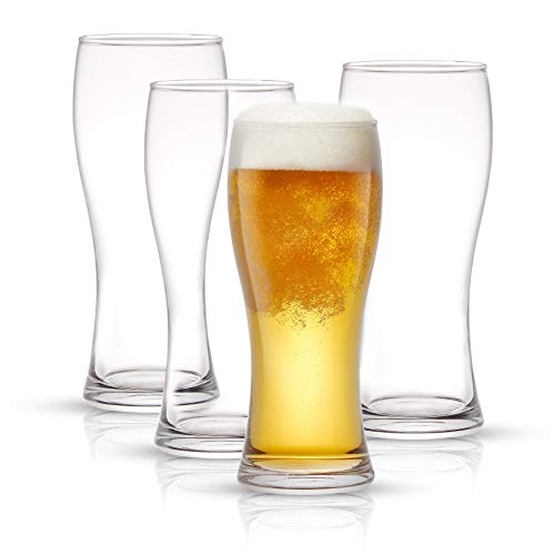 JoyJolt Callen Beer Glasses Set of 4 (FOUR). Pint Glass Capacity, Craft Beer Glass, Pilsner Beer Glass and IPA Beer Glass. 15.5oz Beer Glassware Cup. Classic Beer Glasses for Men