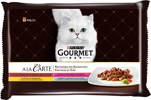 PURINA GOURMET A la Carte Katzenfutter nass, Sorten-Mix, 12er Pack (12 x 4 Beutel à 85g)