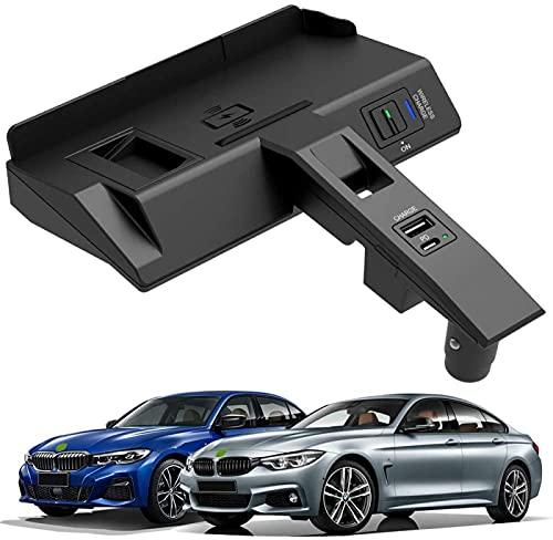 Cargador Inalámbrico Coche para Nuevo BMW 3 Series 4 Series 2020 2021 Panel de Accesorios Consola Central,Cojín Carga Rápida del Cargador del Teléfono de 15W Qi con USB y PD para El iPhone 12/11/XS/X