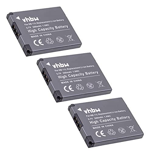 vhbw 3X Baterías Li-Ion para cámara Canon Powershot SX420IS, SX420 IS, Digital Ixus 180, 285HS, 285 HS y NB-11L.