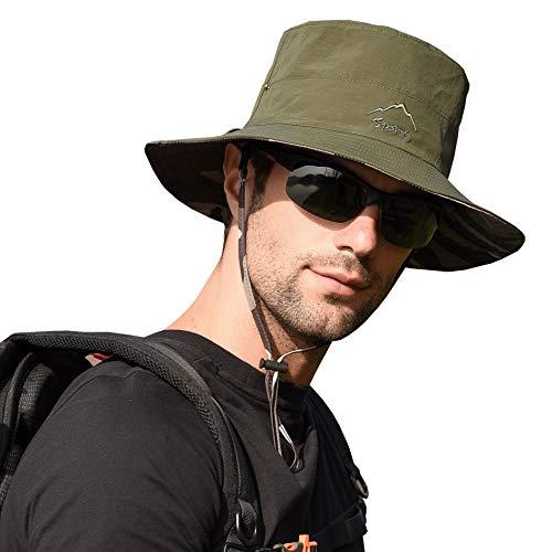CAMOLAND サンハット 釣り用バケットキャップ アウトドア UV保護 迷彩 ブーニー 防水 速乾 One Size グリーン
