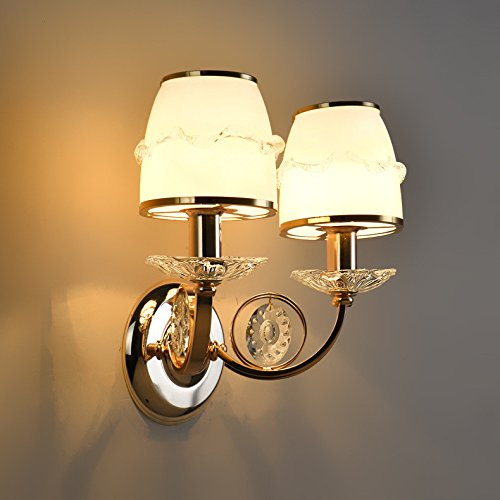 JJZHG wandlamp wandlamp waterdichte wandverlichting startskant woonkamer dubbele kristallen wandlamp creatieve LED trap nacht TV kast decoratieve wandlamp omvat: wandlamp