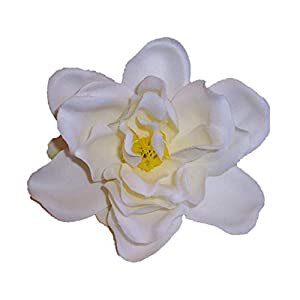 Silk Flower Hair Clip/Pin Brooch, Small Gardenia, White