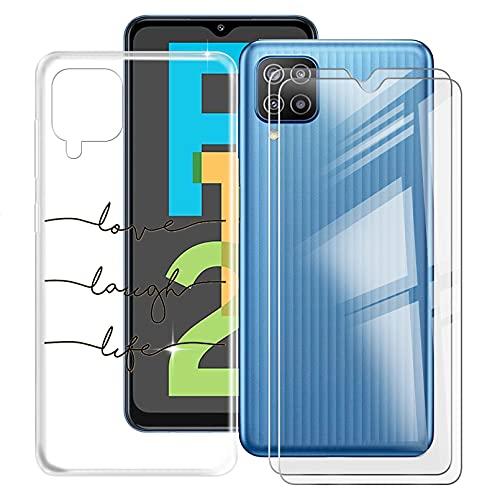 HHUAN Funda para Samsung Galaxy F12 (6.50') + 2 Piezas Protector de Pantalla de Vidrio Templado, Transparente de Silicona Suave de TPU Bumper Carcasa Case Protectora Cover - WM92