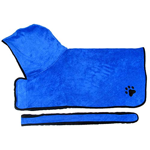 fushida Droog Microvezel Hond Badhanddoek, Hond Badjas - Sneldrogende Microvezel Badjas voor Hond Kat Huisdier (blauw)