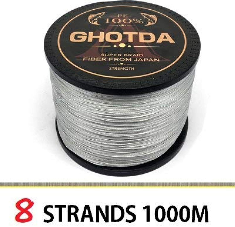 GHOTDA Fishing line 1000M 500M 300M PE multifilament Braided Fishing Line carp Fishing Tackle 8 Strands 1000M, 6.0