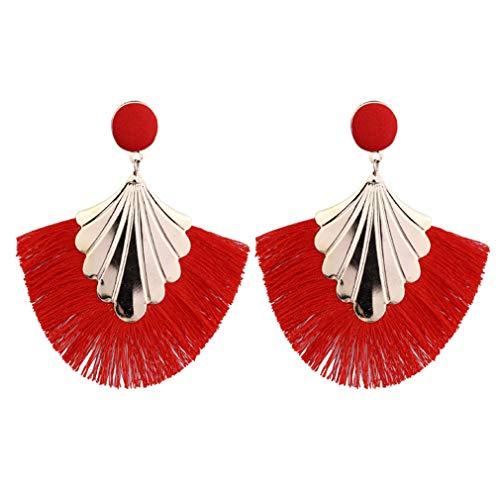 #N/A Rlmobes Creative Borla Pendientes Bohemia Gota Cuelgan Pendientes Flecos Para Mujer Joyería, Rojo