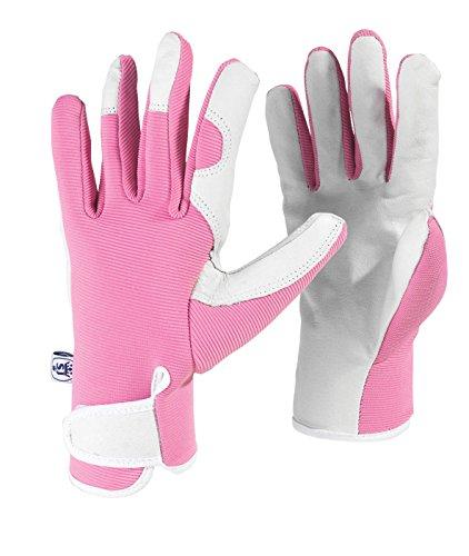 Spear & Jackson Kew Gardens Collection Ladies Medium Leather Palm Gardening Gloves - Pink