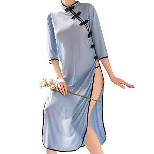 Hawk's α セクシー チャイナドレス風 ベビードール 大胆スリット シースルー コスプレ 衣装 (ブルー)