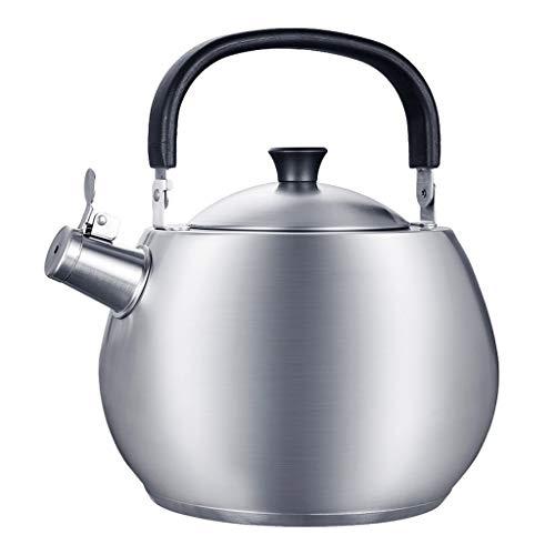 Bouilloire Cuisine Kettle ménage gaz 304 Induction en Acier Inoxydable Cuisinière avec épais Whistle 4.5L Grande capacité à gaz Argent 17.5X27.5cm XMJ