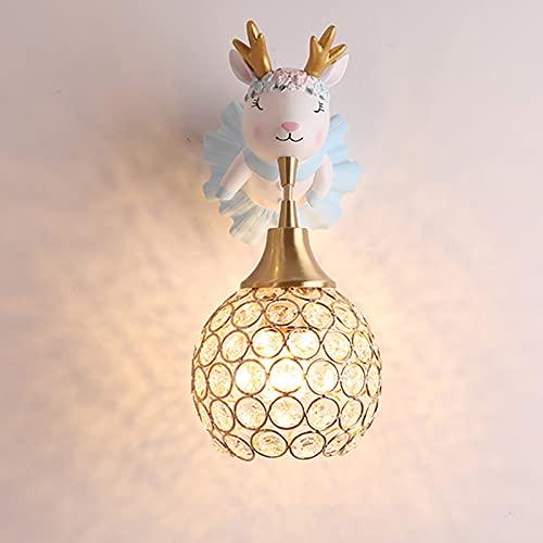 Lámpara de Pared Chico Niña Aplique de Pared Creativo Niños Cuarto Lámpara de Noche Azul Resina Alce Decoración Linda Lámparas de Cabecera Moderno E27 Cuarto del Bebé Sala de Estar Luz de Pared