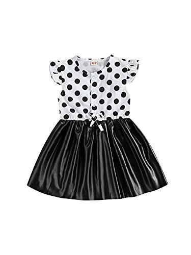 Ropa de Verano para niñas pequeñas, Lunares, Botones de Mosca, Retazos de Cuero, una línea, Vestidos de Princesa (White, 1-2T)