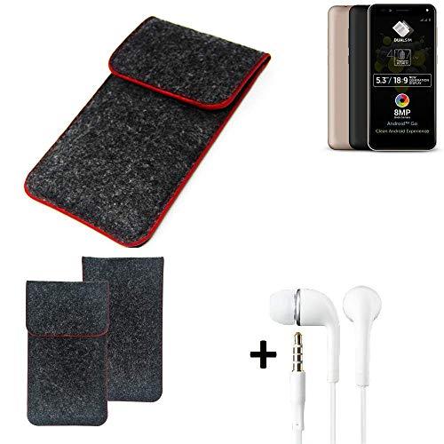 K-S-Trade Handy Schutz Hülle Für Allview A9 Plus Schutzhülle Handyhülle Filztasche Pouch Tasche Hülle Sleeve Filzhülle Dunkelgrau Roter Rand + Kopfhörer