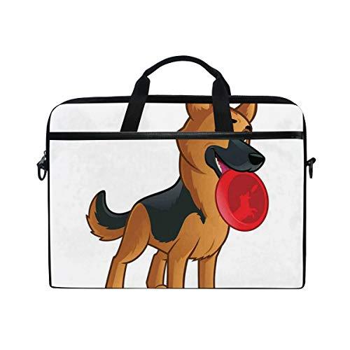 VICAFUCI New 15-15.4 Zoll Laptop Tasche,Umhängetasche,Handtasche,Freundlicher Hund der elsässischen spielerischen Zeichentrickfilm-Figur-Zusammensetzung