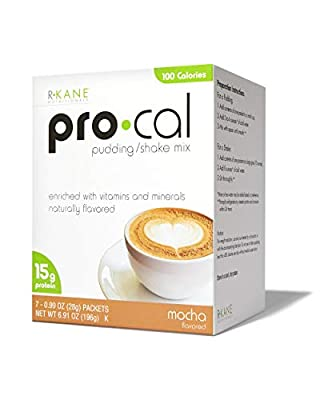 R-Kane Pro Cal Low-Calorie Meal Replacement Protein Shake and Pudding Mix - Low Carb Protein Powder For Weight Loss - 15g Protein Energy Booster Shake - 7 Packets (Mocha)