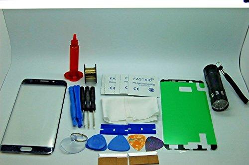 Frontscheibe Reparatur-Set, Bildschirm Glas für Samsung S6 Edge Saphir Schwarz mit Kleber, Fackel, Draht