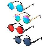 4 Pieces Retro Steampunk Sunglasses Vintage Gothic Round Sunglasses Circle Steampunk Glasses for Women Men (Orange, Black, Blue, Rainbow)