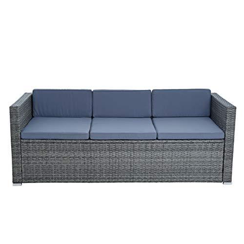 ESTEXO Rattan Lounge Sitzgruppe Polyrattan Gartenmöbel Set Couch 3-Sitzer Rattanmöbel Sofa Set Essgruppe Gartenset Balkon-Set (Anthrazit-Grau) - 4