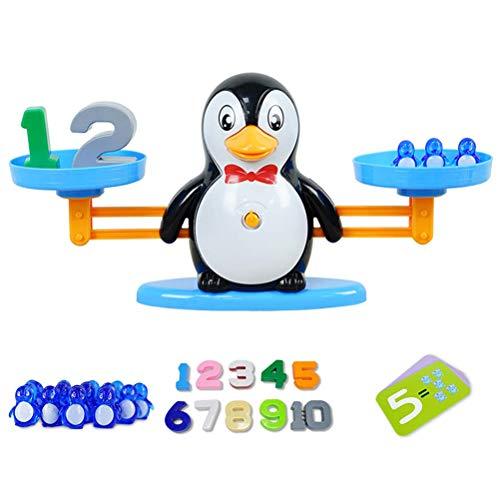 Mathe-Spiel, Balance Scale Toy, Pinguin Balance Montessori Mathe-Spiel Spaß Lernen Addition und Subtraktion Math Scales Toys