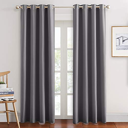 PONY DANCE Blackout Curtains for Bedroom - Double Pieces Thermal Insulated Drapes Noise Reducing Solid Grommet Top Window Curtain Panels for Home Decoration, 55 x 80 inch, Grey, 1 Pair