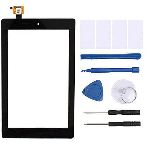 YEECHUN New Black 7' Glass Digitizer Touch Screen Replacement for Amazon Fire 7th Gen 2017 Release SR043KL with Tools and Adhesive