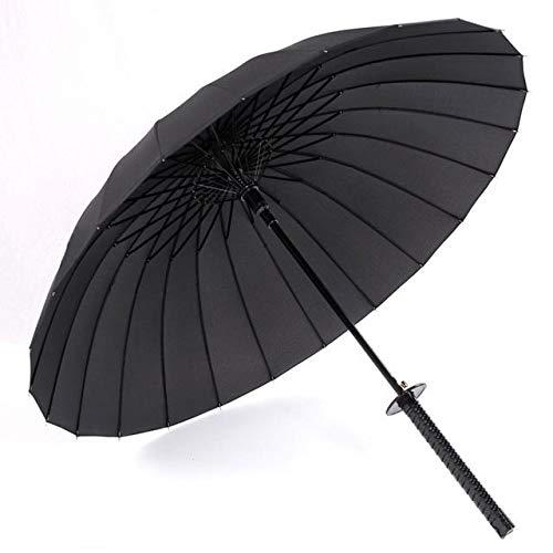 WYJ Regenschirm Schwarzer Ninja-Schwert-Regenschirm Langgriff-Regenschirme Halbautomatische 8, 16 Oder 24 Rippen