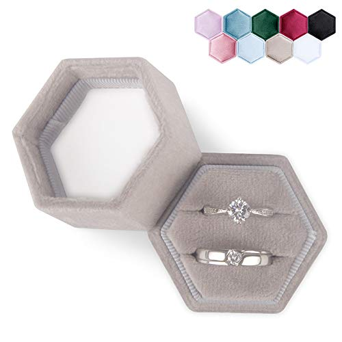DesignSter Hexagon Velvet Ring Bearer Box - Premium Gorgeous Vintage Double Ring Display Holder with Detachable Lid for Proposal, Engagement, Wedding, Ceremony (Gray)