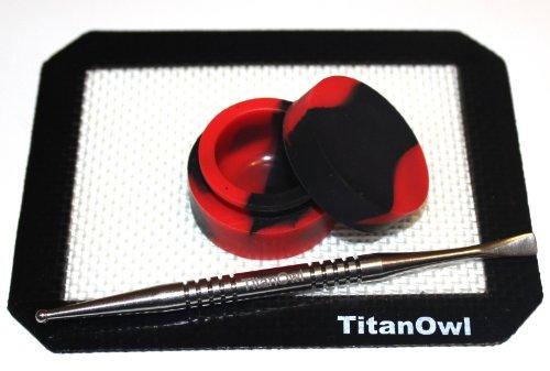 Titanium Carving Tool GR2 Silicone Mat Platnium Cured + Non-Stick Jar Container, 5.5' x 4.5' Pad (Black)