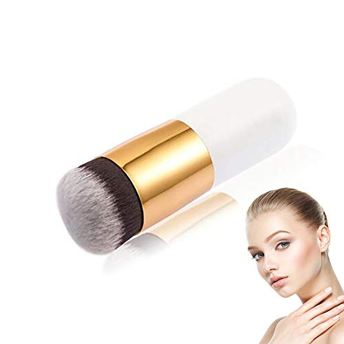 1pc Maquillage Professionnel Pinceau Plat Pinceau Kabuki Grosse Tête Ronde Brosse À Poils Doux Teint En Poudre, Crème Ou Liquide Cosmétique Blender Outil (blanc)