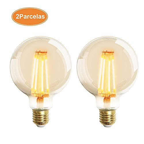 Extrastar Bombilla Edison Vintage 4W LED Retro Decorativa Bombillas Lamparas Blanco Cálido 2200K 400LM G95 E27 Antigua Lámpara Bulbo Filamento No regulable - 2 unidades …