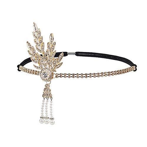 URSING Frauen Haarschmuck Stirnband Damen Perle Anhänger Charleston Party Braut Haarreif Hochzeit Bohemien Kopfschmuck Hochzeit Stirnbänder Haar Accessoires...