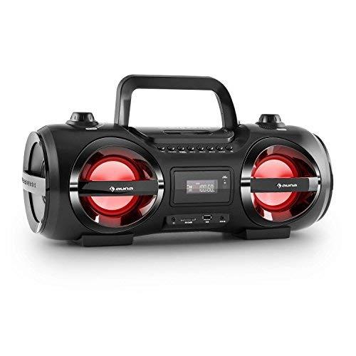 auna Soundblaster M - Ghettoblaster, Boombox, Bluetooth 3.0, Portata fino a 10 m, Porta USB, Slot SD, AUX, LED, 2 altoparlanti stereo, Funzionamento a batteria, Telecomando incluso, Nero
