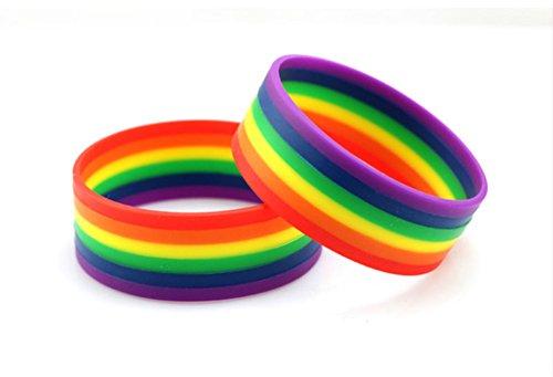 CAOLATOR 2 Stück Armbänder Regenbogen Silikon 6 Farben LGBT Party Silikonkautschuk Armband Armkette Armreif Gummiarmbänder für Dekoration/Gedenktag/Rally