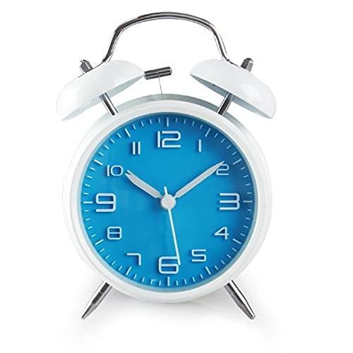 BGREWV Reloj despertador digital 3D con movimiento de cuarzo y movimiento de cuarzo y luz nocturna (color: azul y blanco)