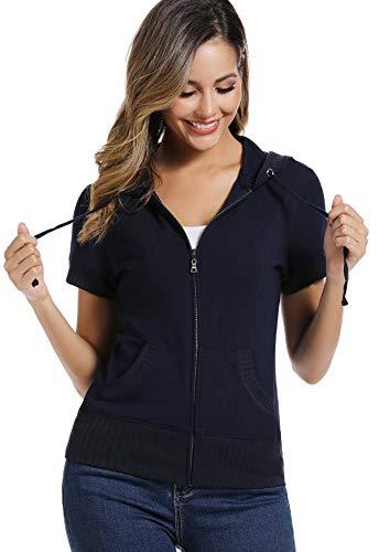 MISS MOLY Damen Kapuzenpullover Sweatjacke Hoodie Langarm Sweatshirt mit Reissverschluss Blau Medium