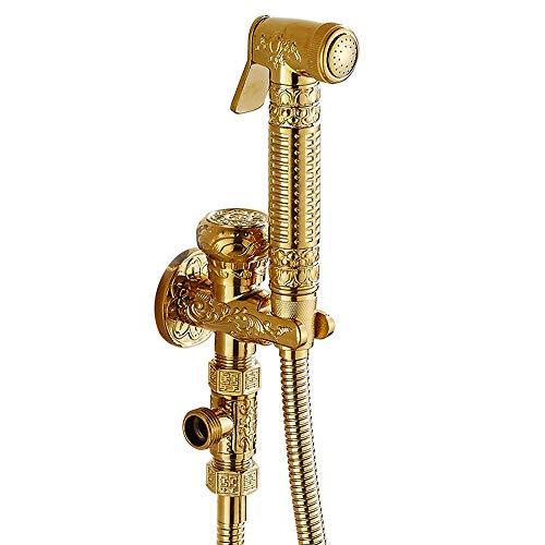 XDYNJYNL Grifo de la cocina estilo europeo todo bronce ángulo válvula bidé Flusher inodoro oro pistola fregona piscina lavadora antiguo grifo traje G1/2 recipiente grifo