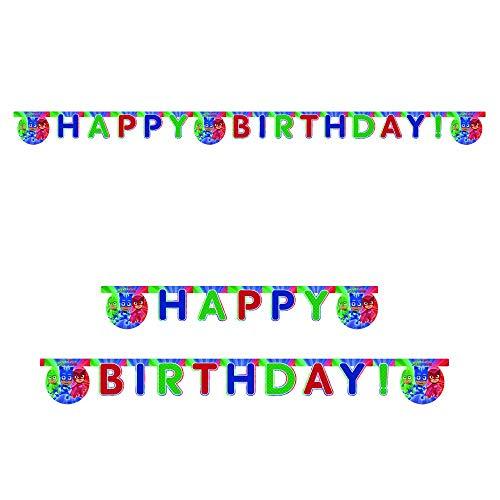 Procos-88638 Prp Guirnalda Feliz Cumpleaños Super Pijamín Mascarillas, multicolor, Costumes