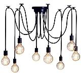 SISVIV Lampadario a Sospensione Vintage Industriale Lampada da Soffitto Lampada Pendente Ragno 8 Bracci per Cucina Sala da Pranzo Salotto Ristorante