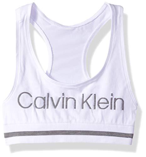 Calvin Klein Mädchen Seamless Sports Bra Funktionsunterwäsche, Weiß mit grauem Logo, Klein