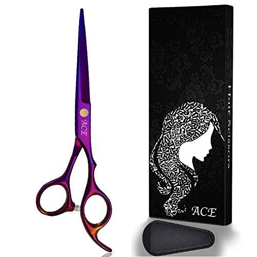 Hair Cutting Scissors Shears Professional Barber ACE 6 inch Hairdressing Regular Scissor Salon Razor Edge Hair Cutting Shear for Women, Men, Kids (Violet)