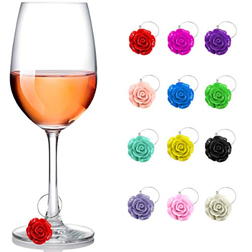 Wine Glass Charms 12 Pieces of Roses Flower