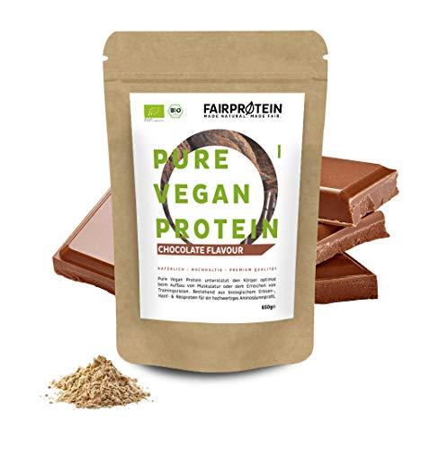 Fairprotein® Polvo de Proteína Vegana BIO Chocolate sin soja - 3K Proteína Orgánica 650g de Arroz Orgánico, Proteína de Cáñamo y Proteína de Guisante'Para un batido de proteína orgánica y cocinar'