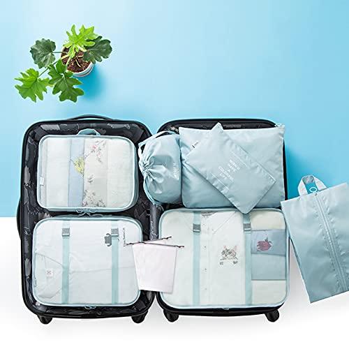 FTHH Organizadores de Viajes,Travel Packing Cubes,Set de Organizador de Equipaje,Embalaje de Viaje Bolsas de Almacenamiento para Ropa Zapatos Cosméticos Accesorios