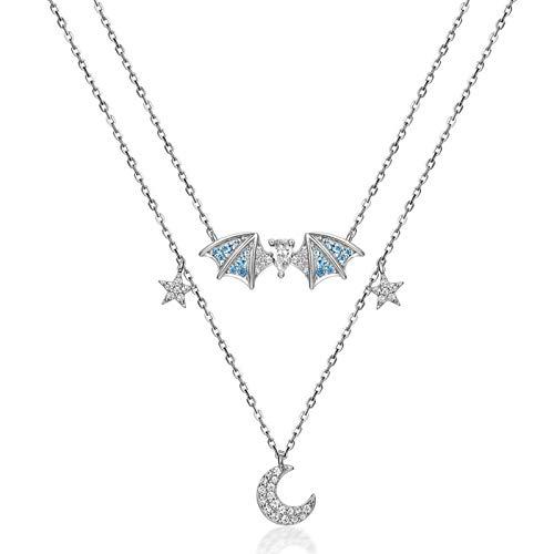 AMY-XCQ Collar, Collar De Doble Capa De Plata De Ley 925 Cadena De Clavícula Femenina Temperamento Simple Viento Frío Diseño De Nicho Artículo De Sentido Joyería