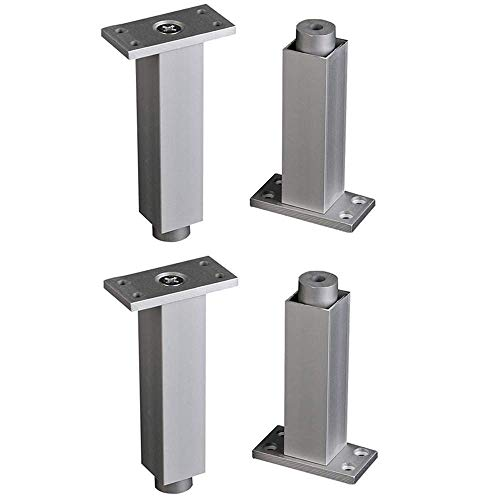 Patas de muebles CHP 4 piezas de altura ajustable 5 mm patas de gabinete cuadrado de aleación de aluminio Mesa Pies/patas de cocina pies antioxidantes