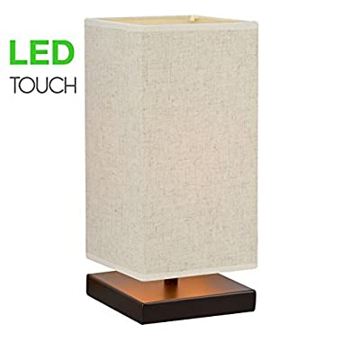Revel/Kira Home Lucerna 13  TOUCH Bedside Table Lamp + 4W LED Bulb (40W eq.) Energy Efficient, Eco-Friendly, Honey Beige Shade